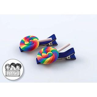 Snoepig Snoepig Haarknipjes Knipjes Swirl lolly regenboog - Blauwe Knipjes
