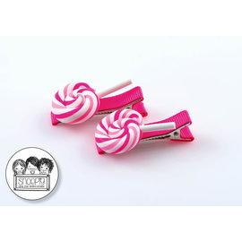 Snoepig Snoepig Haarknipjes - Swirl lolly Roze (neon-roze knipjes)