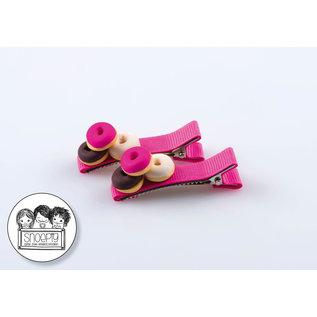 Snoepig Snoepig Haarknipjes Stapeltje donuts - Roze Knipjes