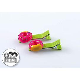 Snoepig Snoepig Haarknipjes Roze Donuts - Groene Knipjes
