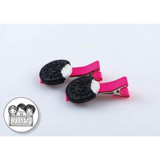 Snoepig Snoepig Haarknipjes Zwart koekje - Neon Roze Knipjes