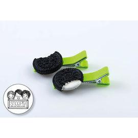 Snoepig Snoepig Haarknipjes Zwart koekje - Neon Groene Knipjes