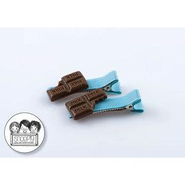 Snoepig Snoepig Haarknipjes Chocolade - Blauwe Knipjes