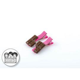 Snoepig Snoepig Haarknipjes - Chocolade (roze knipjes)