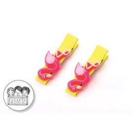 Snoepig Snoepig Haarknipjes Flamingo - Gele Knipjes