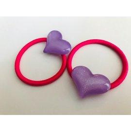Snoepig Snoepig Haarelastiek met Glitterharten - Paarse Hartjes