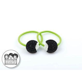 Snoepig Snoepig Haarelastiek Oreo koekjes - Neon Groen Elastiek