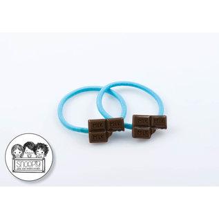 Snoepig Snoepig Haarelastiek Chocolade - Blauw Elastiek