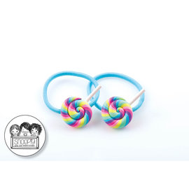 Snoepig Snoepig Haarelastiek Swirl Lolly Pastel - Licht blauw Elastiek