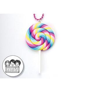 Snoepig Snoepig Ketting - lolly XL Pastel