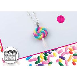 Snoepig Snoepig Ketting Swirl Lolly - Lolly Pastel