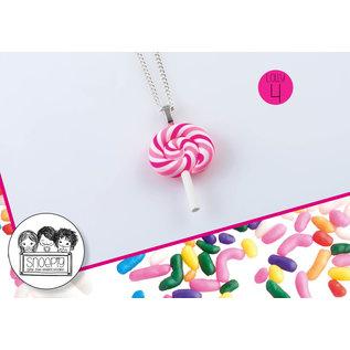 Snoepig Snoepig Ketting - Swirl Lolly (Roze)