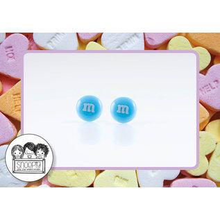 Snoepig Snoepig Oorbellen - M&M stekertjes (blauw)