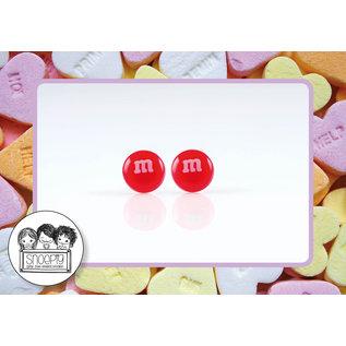 Snoepig Snoepig Oorbellen - M&M stekertjes (Rood)