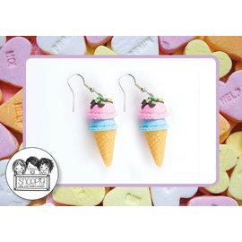 Snoepig Snoepig Oorbellen Schep-ijs hangers - Roze/Mint