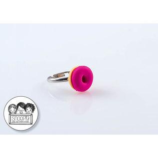 Snoepig Snoepig Ring Donutje - Fuchsia