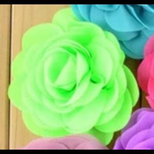 Snoepig Snoepig HaarKnipje Chiffon Bloemen - 4 Neon Groen