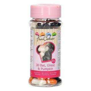FunCakes FunCakes 3D Sprinkles Vleermuis-Spook-Pompoen 80g