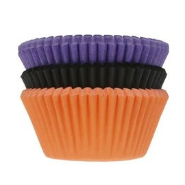 House of Marie Baking Cups Halloween pk/75 paars oranje zwart
