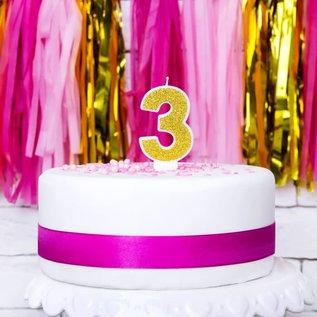 PartyDeco Verjaardag Kaars Nummer 3 - Goud