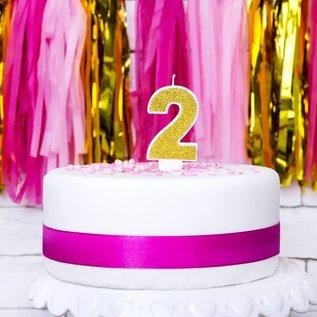 PartyDeco Verjaardag Kaars Nummer 2 - Goud
