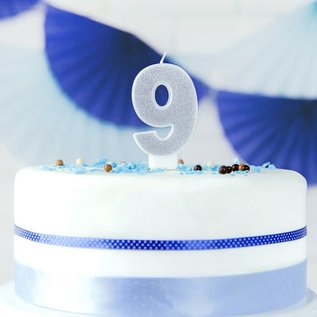 PartyDeco Verjaardag Kaars Nummer 9 - Zilver