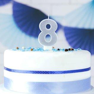 PartyDeco Verjaardag Kaars Nummer 8 - Zilver