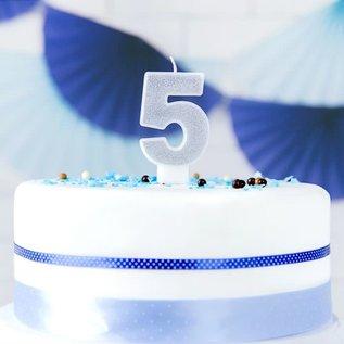 PartyDeco Verjaardag Kaars Nummer 5 - Zilver