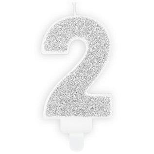 PartyDeco Verjaardag Kaars Nummer 2 - Zilver