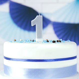 PartyDeco Verjaardag Kaars Nummer 1 - Zilver