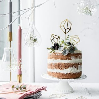 PartyDeco Cake Topper Gems - Goud Set/5