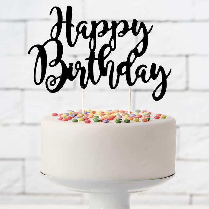 Terrific Cake Topper Happy Birthday Zwart Sweetycakeshop Funny Birthday Cards Online Hetedamsfinfo
