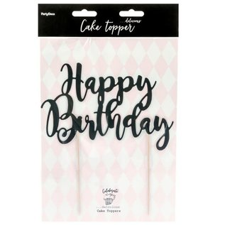 PartyDeco Cake Topper Happy Birthday - Zwart