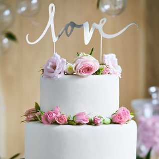 PartyDeco Cake Topper Love - Zilver