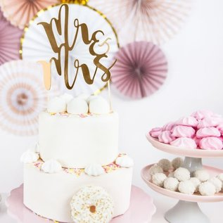 PartyDeco Cake Topper Mr&Mrs - Goud