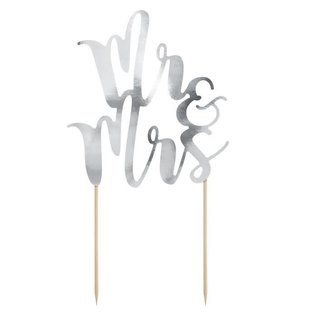 PartyDeco Cake Topper Mr&Mrs - Zilver