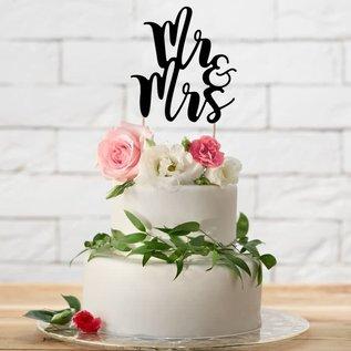 PartyDeco Cake Topper Mr&Mrs - Zwart