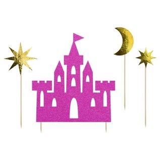 PartyDeco Cake Toppers Prinsessenkasteel Set/4