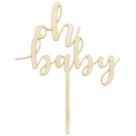 PartyDeco Houten Cake Topper - Oh Baby