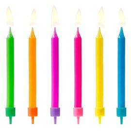 PartyDeco Verjaardag Kaarsen Gekleurd pk/6