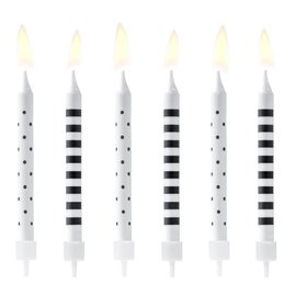 PartyDeco Verjaardag Kaarsen Stippen & Strepen Zwart/Wit