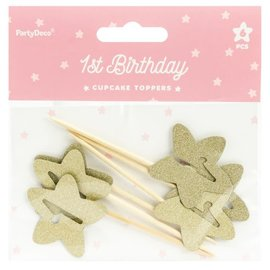 PartyDeco Cupcake Toppers 1st Birthday Gouden Sterren Set/6