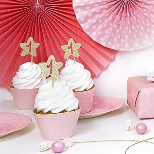 PartyDeco Cupcake Toppers 1st Birthday Gouden Sterren Set/6