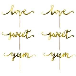 PartyDeco Cupcake Toppers Love - Goud Set/6