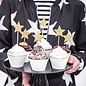 PartyDeco Cupcake Toppers Sterren - Goud Set/6