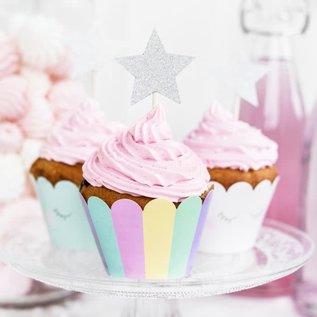 PartyDeco Cupcake Toppers Sterren - Zilver Set/6