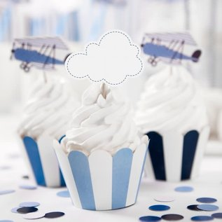PartyDeco Cupcake Toppers Vliegtuigjes Set/6