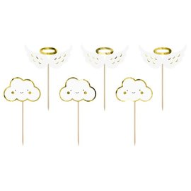 PartyDeco Cupcake Toppers Wolken & Vleugels Set/6