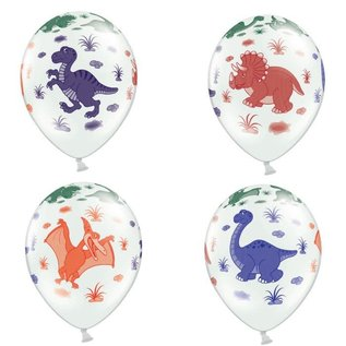 PartyDeco Ballonnen Dinosaurs Pastel Wit pk/6