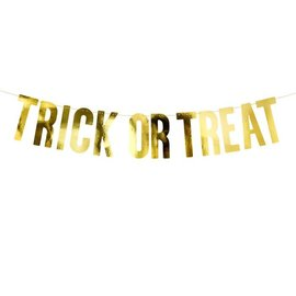 PartyDeco Banner - Trick or Treat, Goud